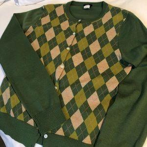 J. Crew merino wool argyle cardigan